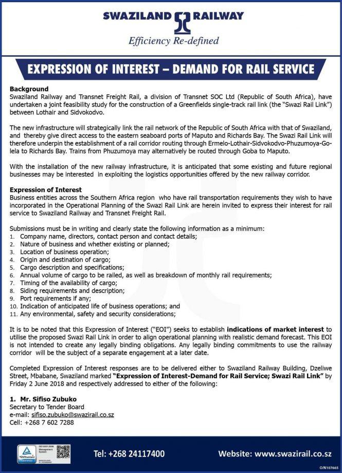 Swazi Rail Link Looking To Establish Market Interest Railways Africa
