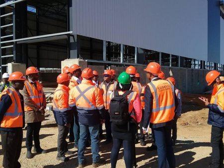 Minister Maswanganyi inspecting new Train factory at Nigel