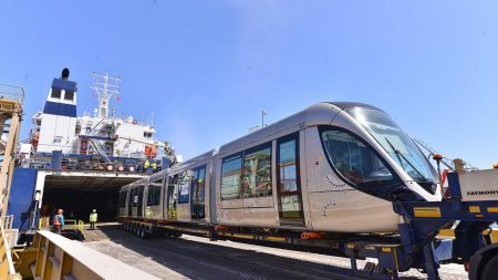 Arrival Of The First Two Trains Of The Citadis - Alstom Tramway For The Rabat - Salé Tramway Network