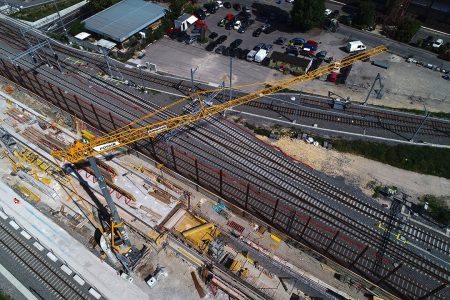Three Potain Hup C 40-30 Cranes On Swiss Railway Project