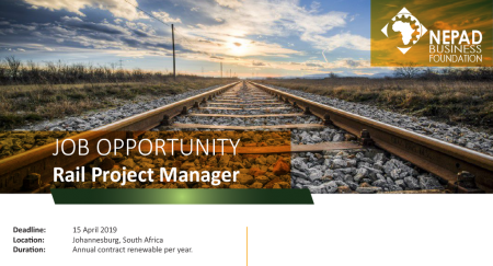 JOB OPPORTUNITY - Infrastructure Desk: Rail Specialist/Project Manager