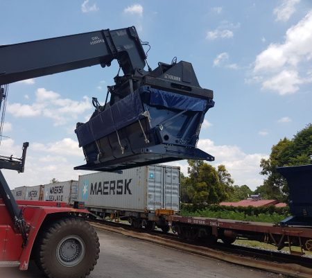 SCA Intermodal Side Tipper Bins For Efficient Bulk Handling On Rail Wagons And Short Haul Road Transport