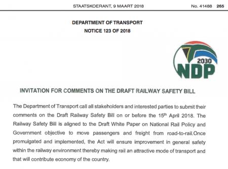 Railway Safety Draft Bill [X-2018]