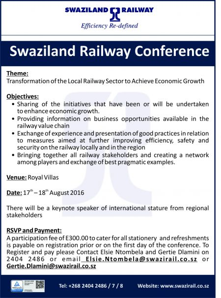 Swaziland Railway 2nd Local Rail Conference - 17 to 18 August 2016